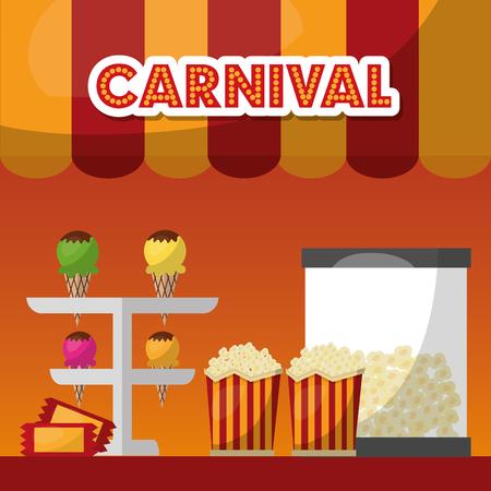 carnival food pop corn ice cream vector illustration