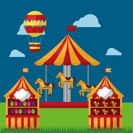 carnival fair festival horse carousel  s booths and air balloon vector illustration