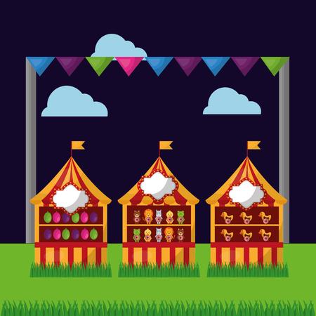 carnival fair festival three booths balloons in the field vector illustration