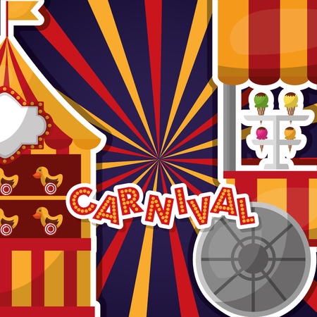 carnival text with light on shooting game ice cream cart vector illustration