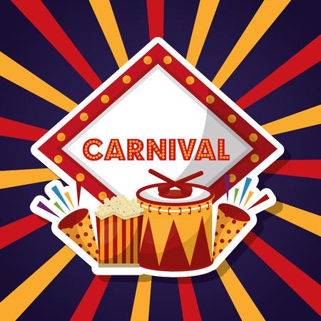 carnival fair festival music food fireworks vector illustration