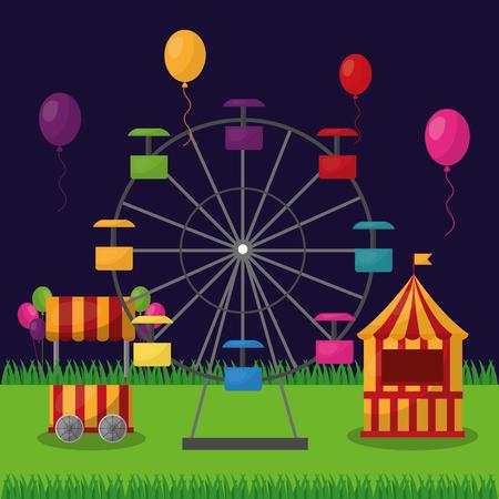 carnival fair festival ferris wheel booths and balloons vector illustration