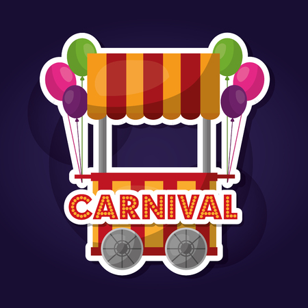 carnival food cart balloons decoration vector illustration Illustration
