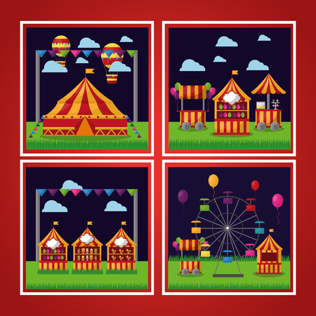 carnival set attraction park show amusement vector illustration Illustration