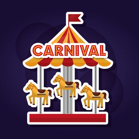 carnival carousel horses enjoyment dark background vector illustration Illusztráció