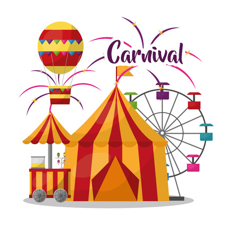 carnival circus tent ferris wheel airballoon food booth vector illustration