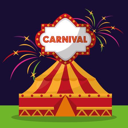 carnaval bord lichten en tent vuurwerk festival vectorillustratie