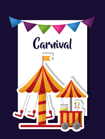 carnival fair and amusement poster vector illustration