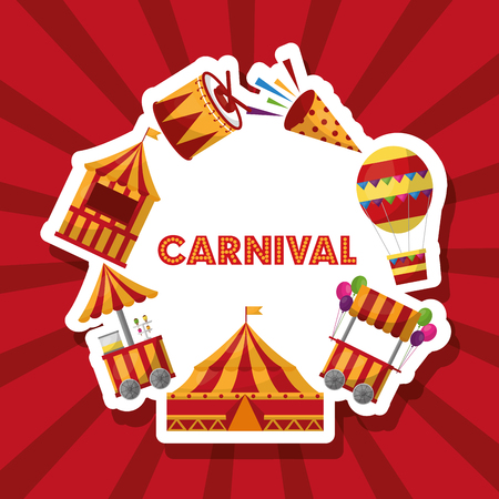 carnival round decoration tent balloon fireworks booths vector illustration Illustration