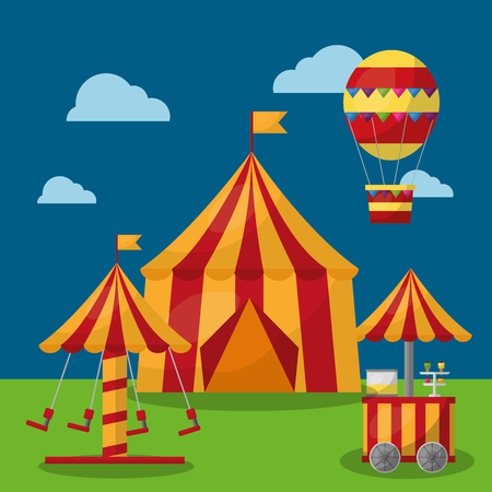 carnival tent park entertainment airballoon with cloud landscape vector illustration