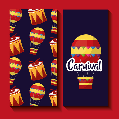 carnival banner airballoon drum festival celebration vector illustration