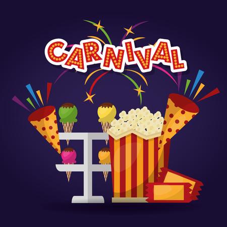 carnival greeting card pop corn ice cream fireworks vector illustration
