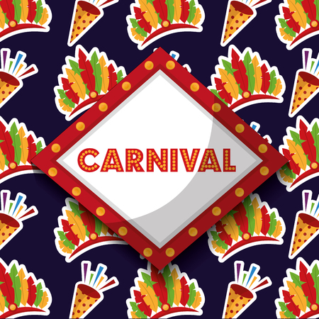 carnival board lights and fireworks vector illustration Illustration