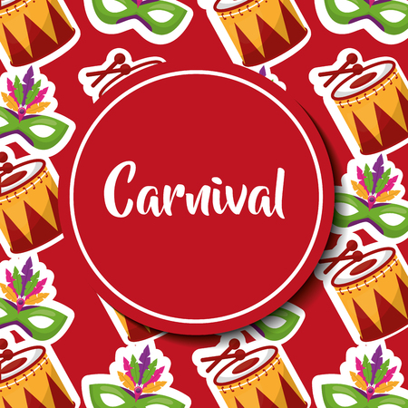 carnival label drum music and mask vector illustration Иллюстрация