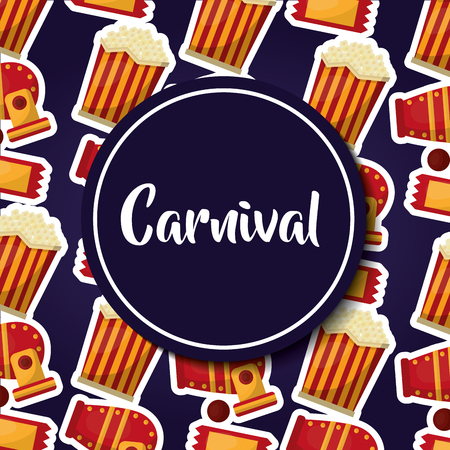 carnival round label pop corn circus cannon vector illustration