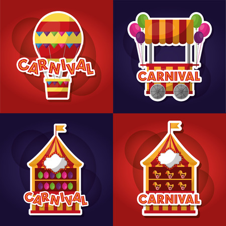 carnival collection amusement park festival vector illustration Illustration