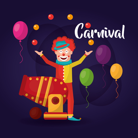 carnival clown circus cannon balloons vector illustration
