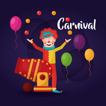 carnival clown circus cannon balloons vector illustration