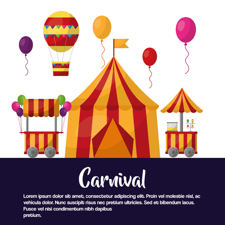 carnival circus tent booths balloons vector illustration