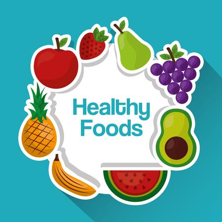 healthy foods fruits diet lifestyle vector illustration Illustration
