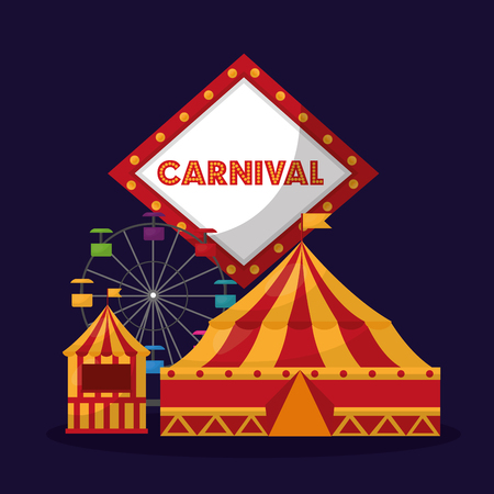 carnival ferris wheel booth board light decoration poster vector illustration Illustration