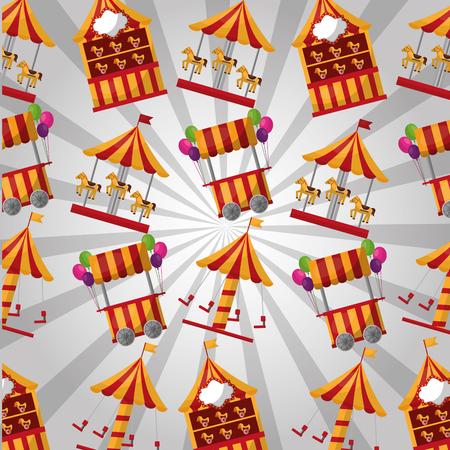carnival booths carousel horses pattern festival vector illustration Illustration