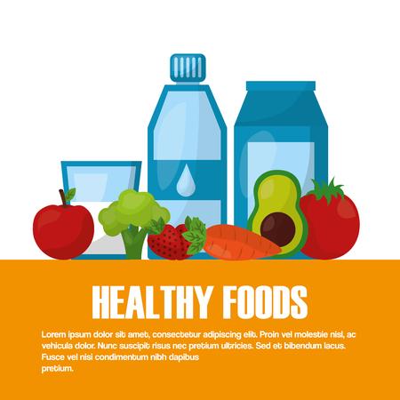 healthy foods beverage fruit vegetables lifestyle vector illustration Illusztráció
