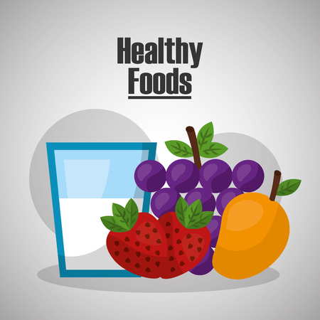 healthy strawberry grape mango foods lifestyle vector illustration