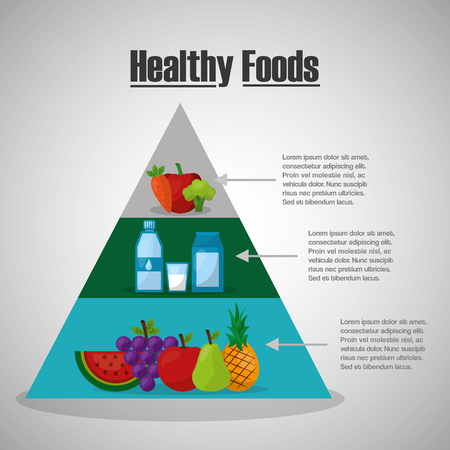 healthy foods lifestyle pyramid nutrition vitamins diet vector illustration Banque d'images - 97726925