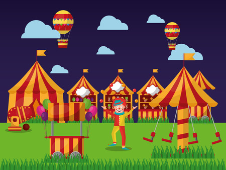 carnival amusement park clown tent circus air balloon flying vector illustration