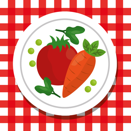 tomaat en wortel in plaat gezond voedsel levensstijl geruit tafelkleed vectorillustratie Stock Illustratie