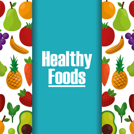 healthy foods lifestyle fruits natural background vector illustration Çizim