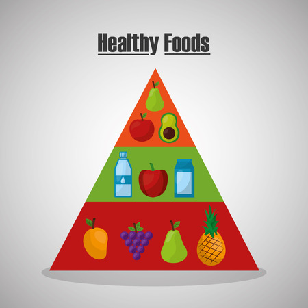 pyramid fruit vegetables healthy foods lifestyle vector illustration