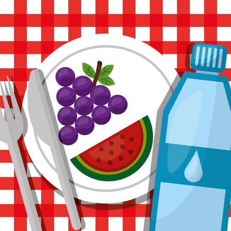 water grapes and watermelon in plate healthy foods lifestyle vector illustration