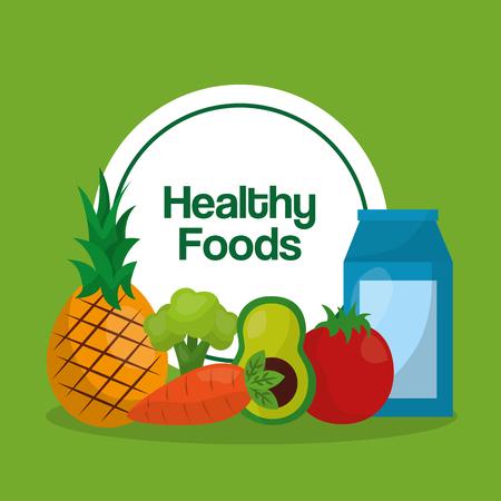healthy foods pineapple avocado carrot tomato juice lifestyle vector illustration