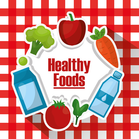 fruits vegetable healthy foods lifestyle on tablecloth vector illustration
