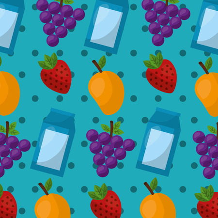 grapes mango strawberry healthy foods lifestyle background vector illustration Иллюстрация
