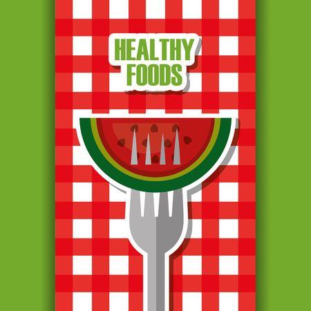 watermelon on fork healthy foods checkered tablecloth vector illustration