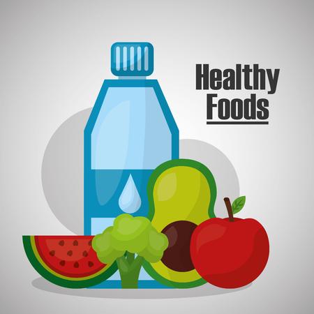 healthy foods water avocado apple broccoli watermelon lifestyle vector illustration