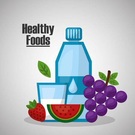 healthy foods water grape strawberry lifestyle vector illustration Foto de archivo - 97727123