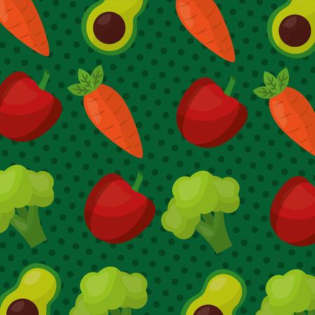 broccoli wortel avocado paprika gezond voedsel levensstijl patroon vector illustratie Stock Illustratie