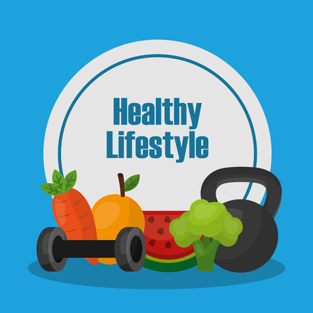 food and weight sport healthy lifestyle vector illustration