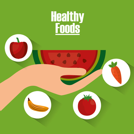 hand holding watermelon fruits healthy foods lifestyle vector illustration Illustration