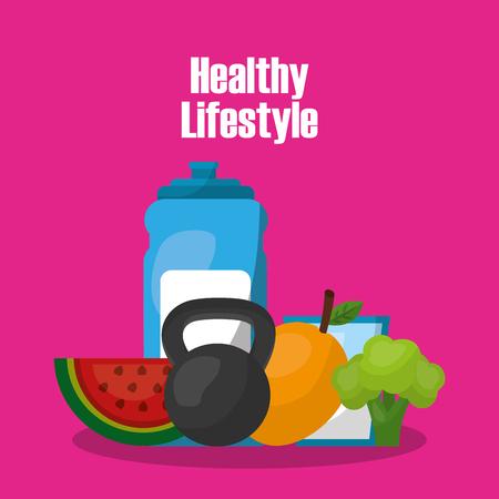 Lebensstil-Vektorillustration des Flaschenwassergewicht Barbell-Mangobrokkolis gesunde
