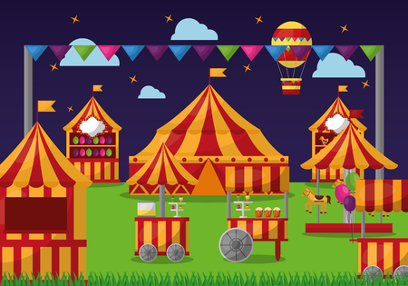 carnival amusement park entertaiment scene vector illustration