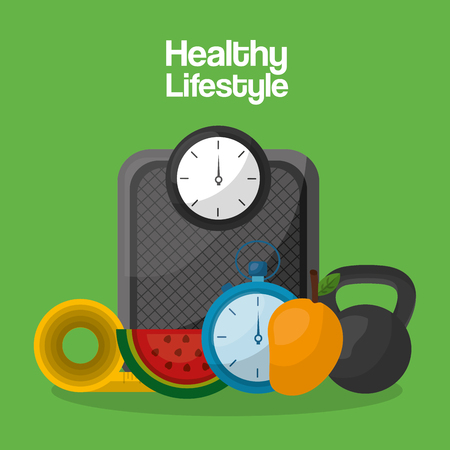 healthy lifestyle sport food care vector illustration Ilustração
