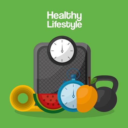 healthy lifestyle sport food care vector illustration Illustration