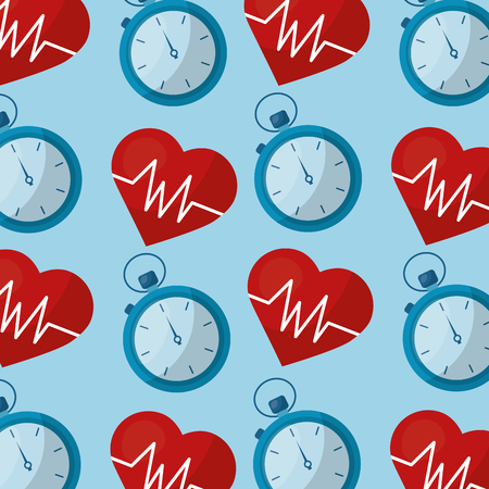 healthy lifestyle heart rate and chronometer background vector illustration