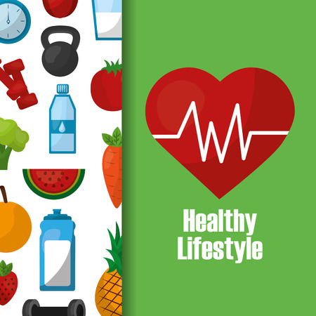healthy lifestyle heart rate cardio food diet sport banner vector illustration
