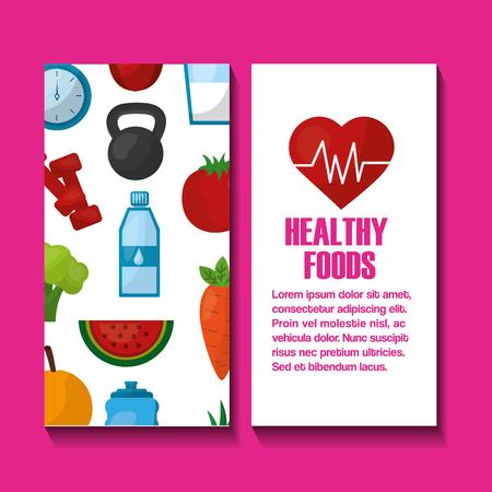 Estilo de vida saludable pancartas corazón fitness frutas verduras ilustración vectorial Foto de archivo - 97727185